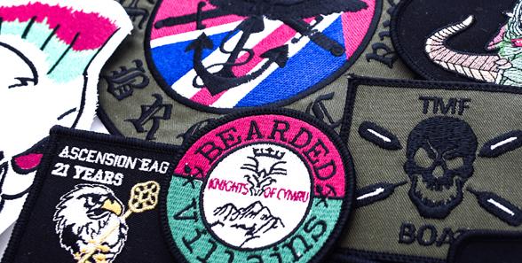 printed biker badge